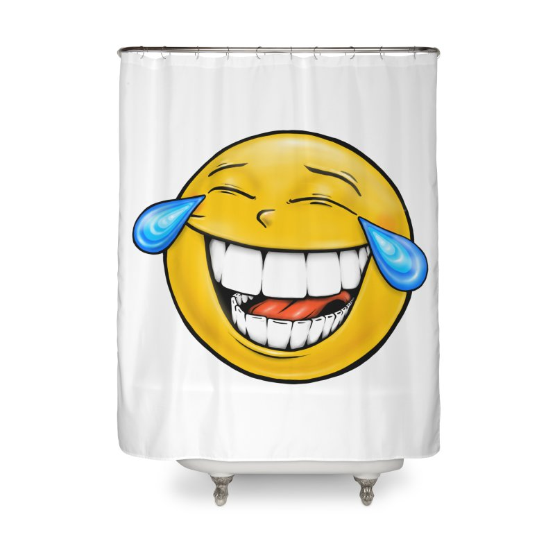 Crying Laughing Emoji Home Shower Curtain by Stiky Shop