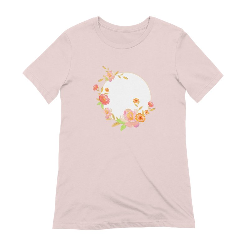 ORANGE FLORAL WATERCOLOR Women's Extra Soft T-Shirt by IF Creation's Artist Shop