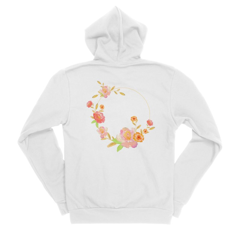 ORANGE FLORAL WATERCOLOR Women's Sponge Fleece Zip-Up Hoody by IF Creation's Artist Shop