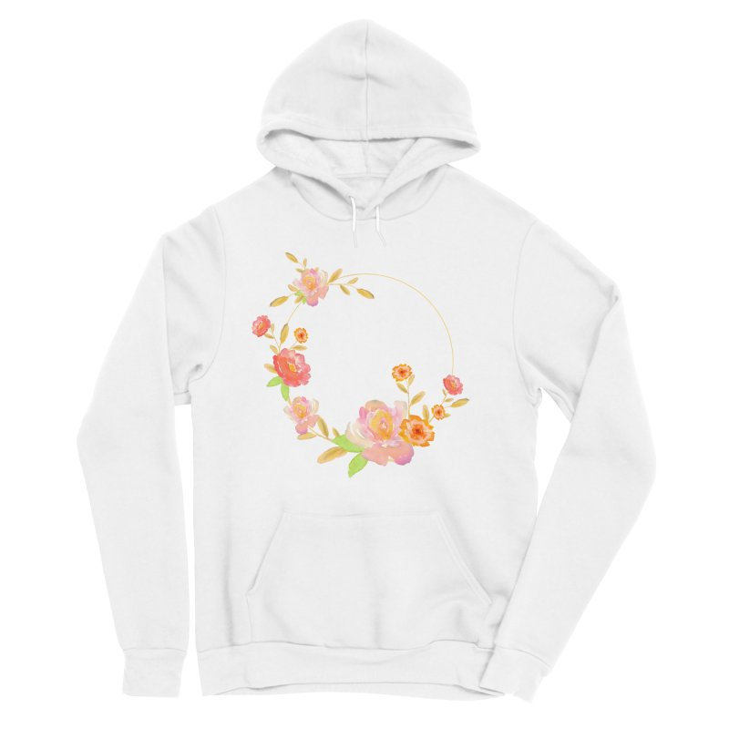 ORANGE FLORAL WATERCOLOR Women's Sponge Fleece Pullover Hoody by IF Creation's Artist Shop