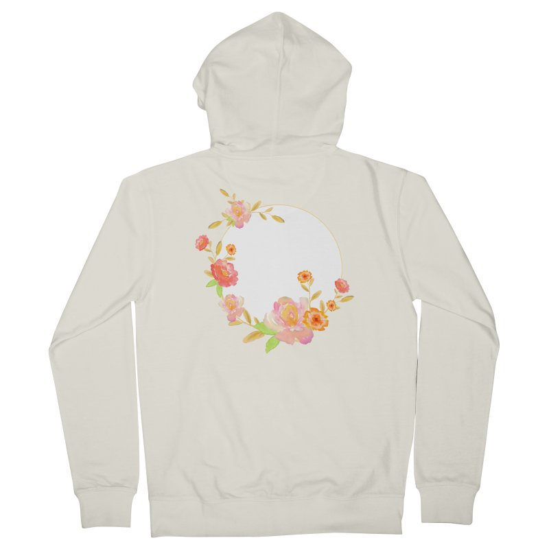 ORANGE FLORAL WATERCOLOR Women's French Terry Zip-Up Hoody by IF Creation's Artist Shop