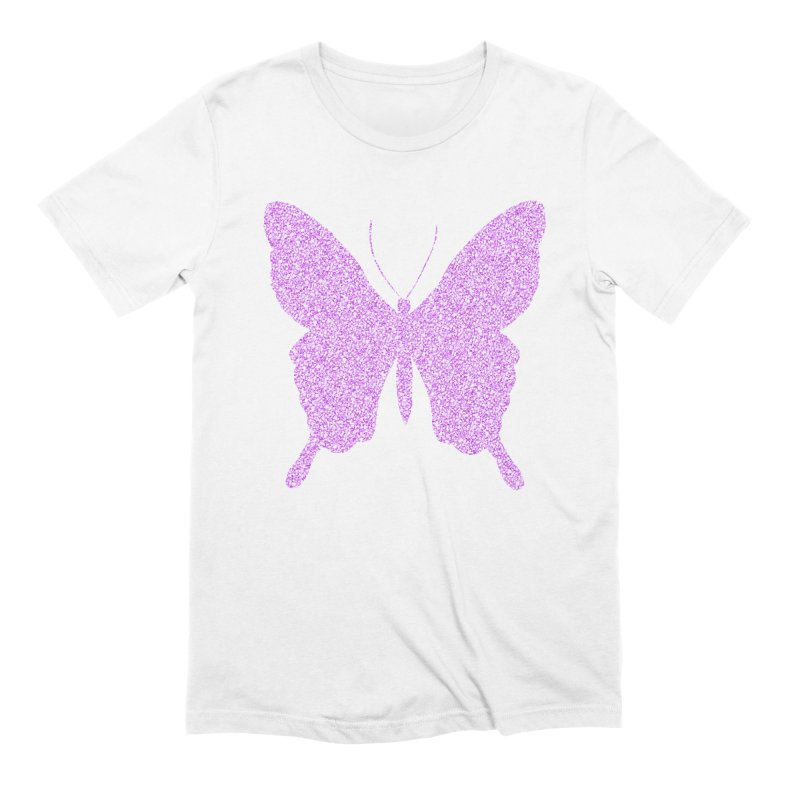 PURPLE GLITTER BUTTERFLY Men's Extra Soft T-Shirt by IF Creation's Artist Shop