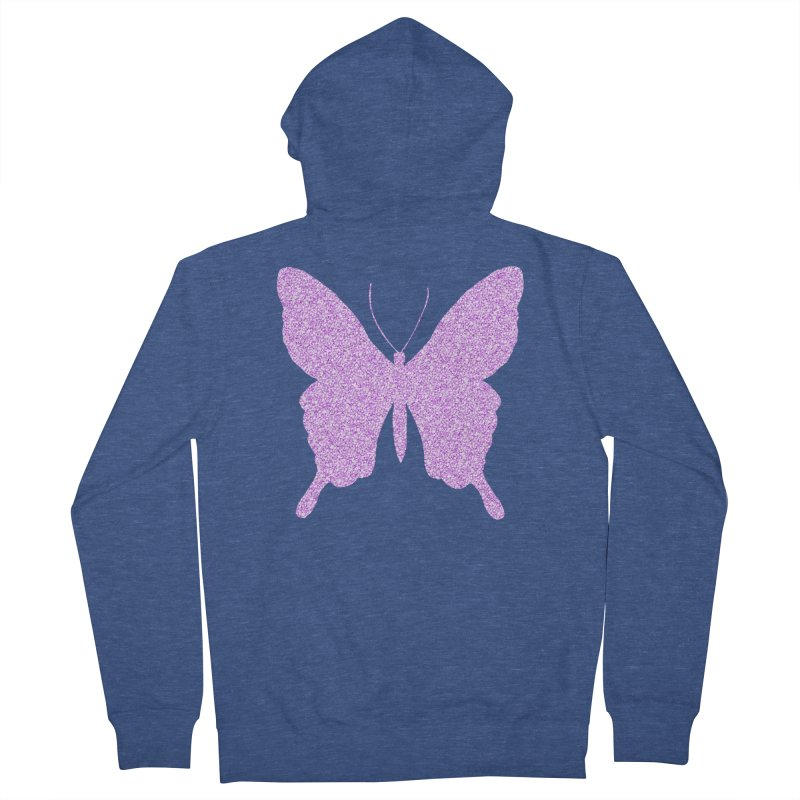 PURPLE GLITTER BUTTERFLY Women's French Terry Zip-Up Hoody by IF Creation's Artist Shop