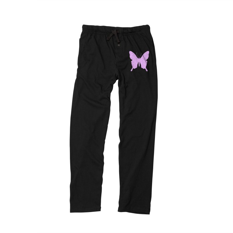 PURPLE GLITTER BUTTERFLY Women's Lounge Pants by IF Creation's Artist Shop