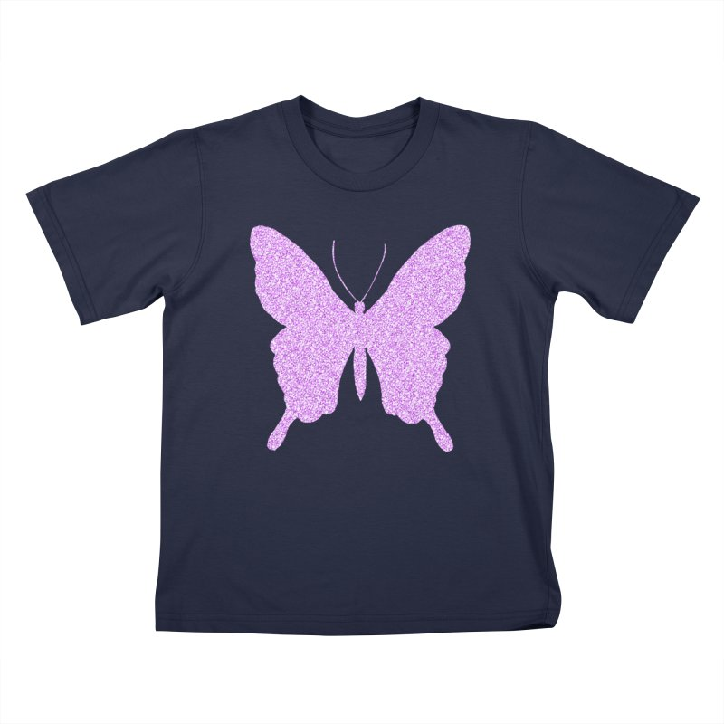 PURPLE GLITTER BUTTERFLY Kids Toddler T-Shirt by IF Creation's Artist Shop