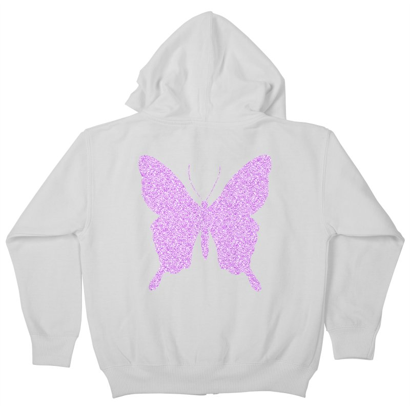 PURPLE GLITTER BUTTERFLY Kids Zip-Up Hoody by IF Creation's Artist Shop