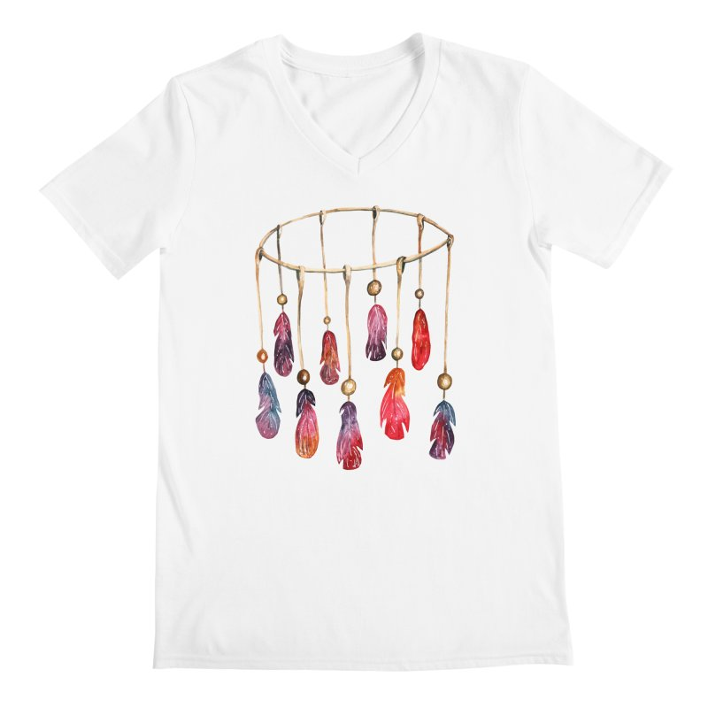 DreamCatcher Feathers Men's V-Neck by IF Creation's Artist Shop