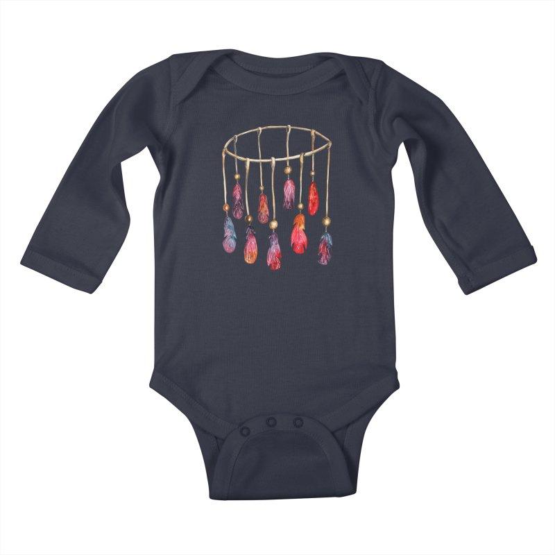 DreamCatcher Feathers Kids Baby Longsleeve Bodysuit by IF Creation's Artist Shop