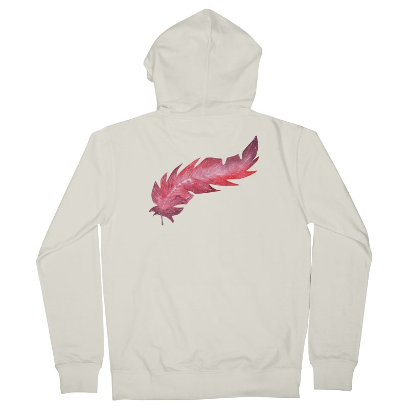 Pink Feather Women's French Terry Zip-Up Hoody by IF Creation's Artist Shop