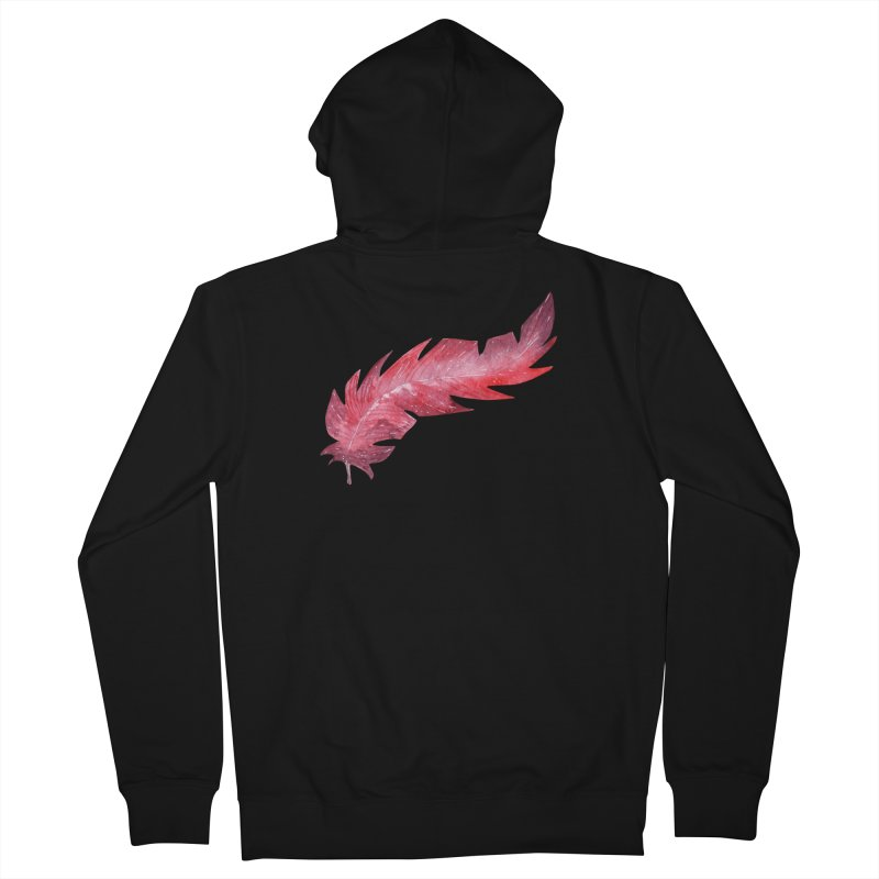 Pink Feather Men's French Terry Zip-Up Hoody by IF Creation's Artist Shop