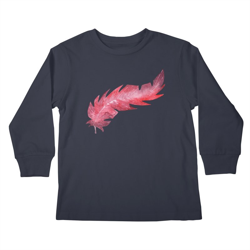 Pink Feather Kids Longsleeve T-Shirt by IF Creation's Artist Shop