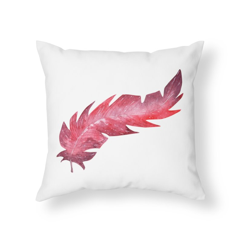 Pink Feather Home Throw Pillow by IF Creation's Artist Shop