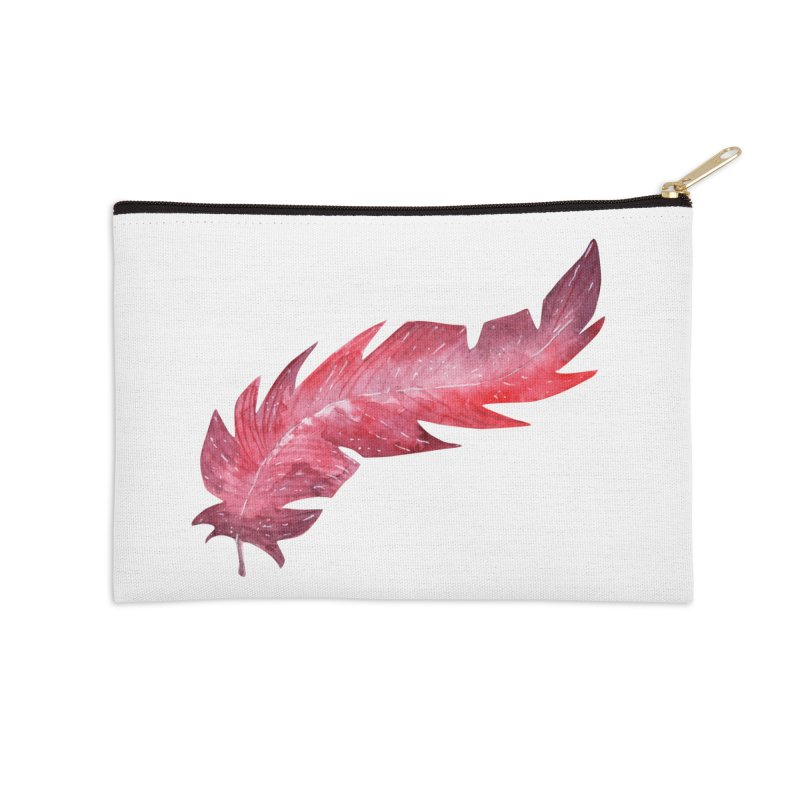 Pink Feather Accessories Zip Pouch by IF Creation's Artist Shop