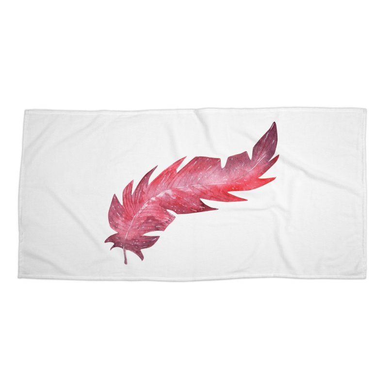 Pink Feather Accessories Beach Towel by IF Creation's Artist Shop