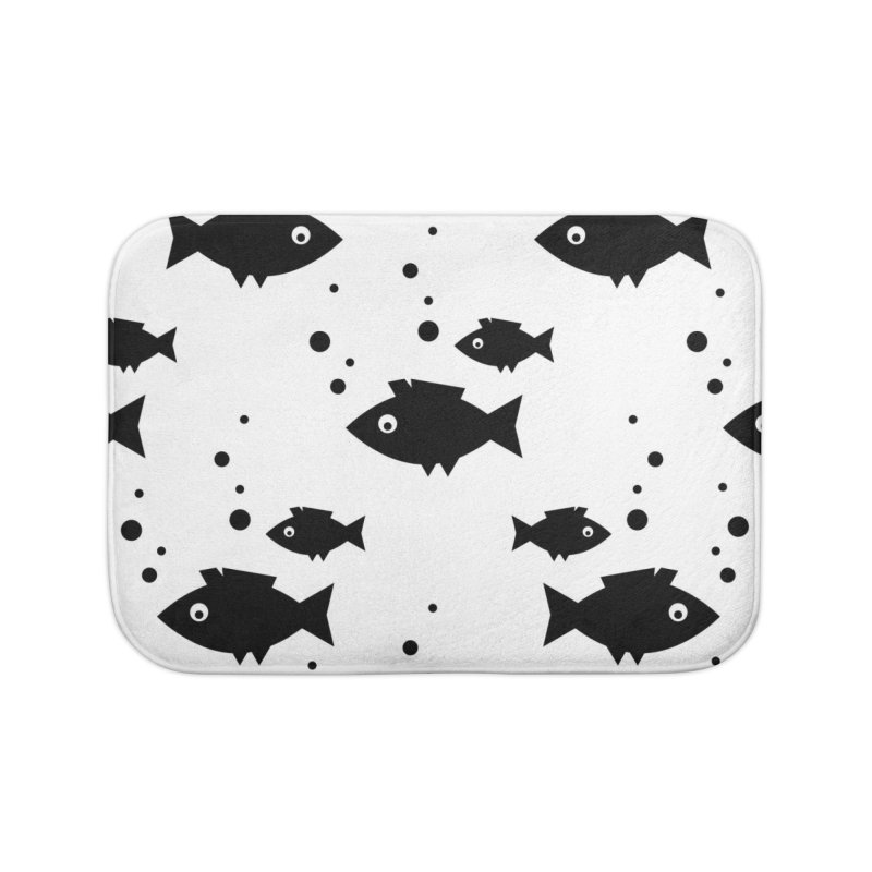 BLACK FISH UNDERWATER BUBBLES Home Bath Mat by IF Creation's Artist Shop