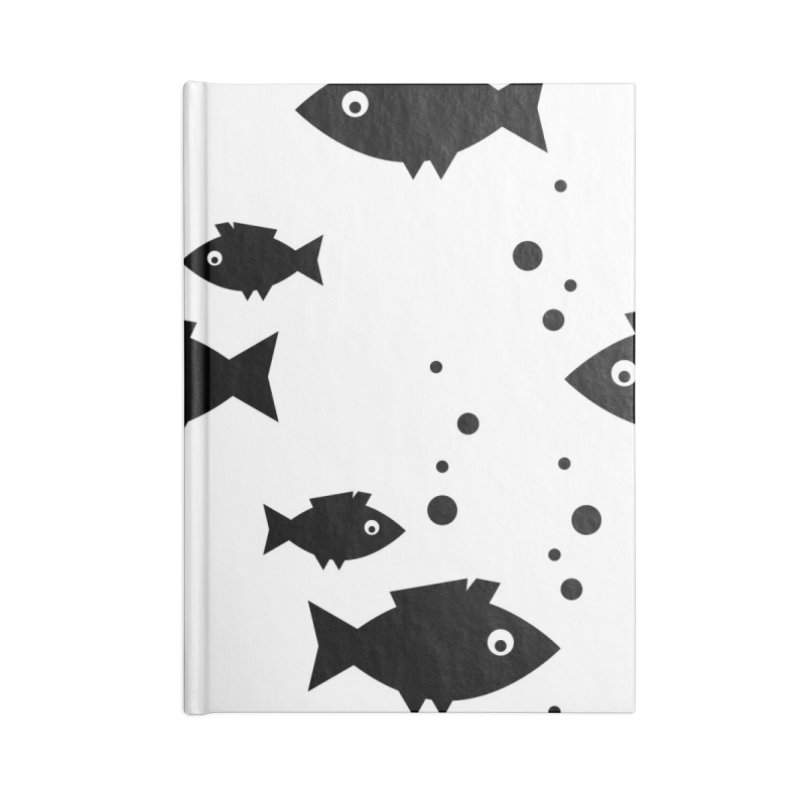 BLACK FISH UNDERWATER BUBBLES Accessories Blank Journal Notebook by IF Creation's Artist Shop