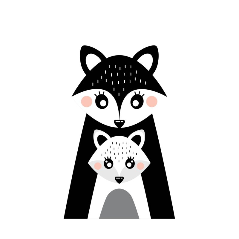 MAMA FOX & BABY FOX Kids T-Shirt by IF Creation's Artist Shop