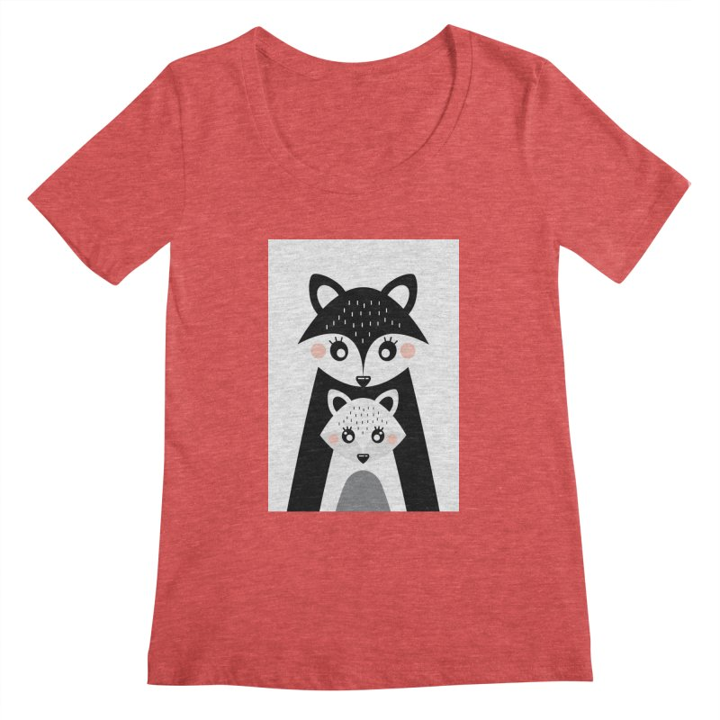 MAMA FOX & BABY FOX Women's Scoopneck by IF Creation's Artist Shop