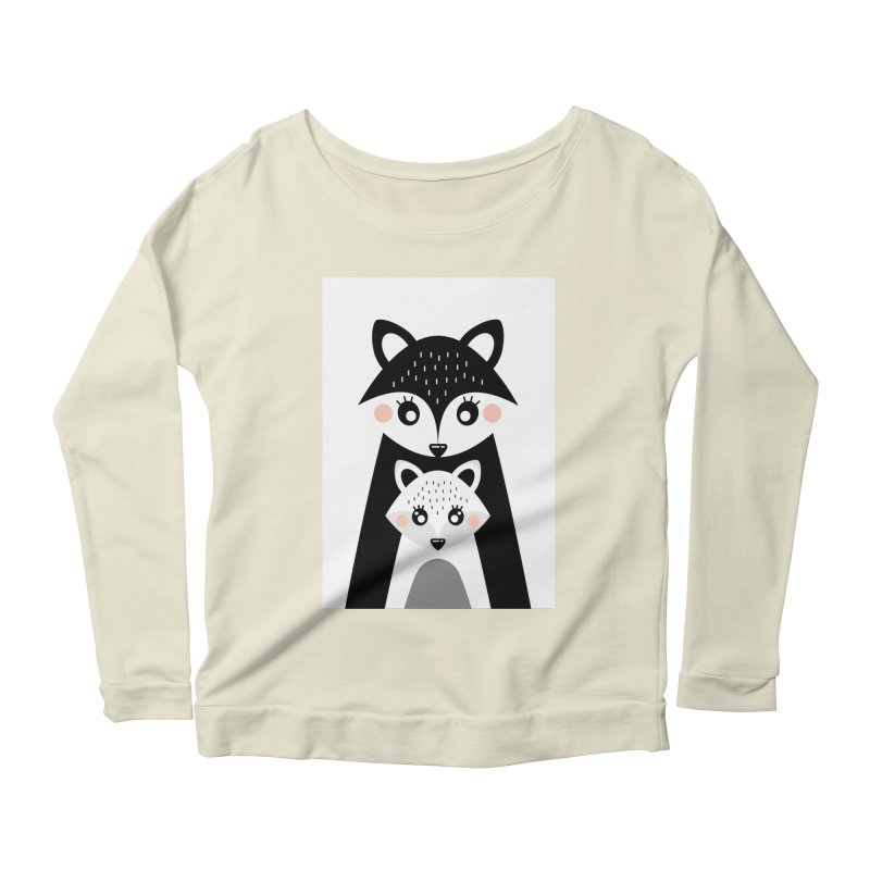 MAMA FOX & BABY FOX Women's Scoop Neck Longsleeve T-Shirt by IF Creation's Artist Shop