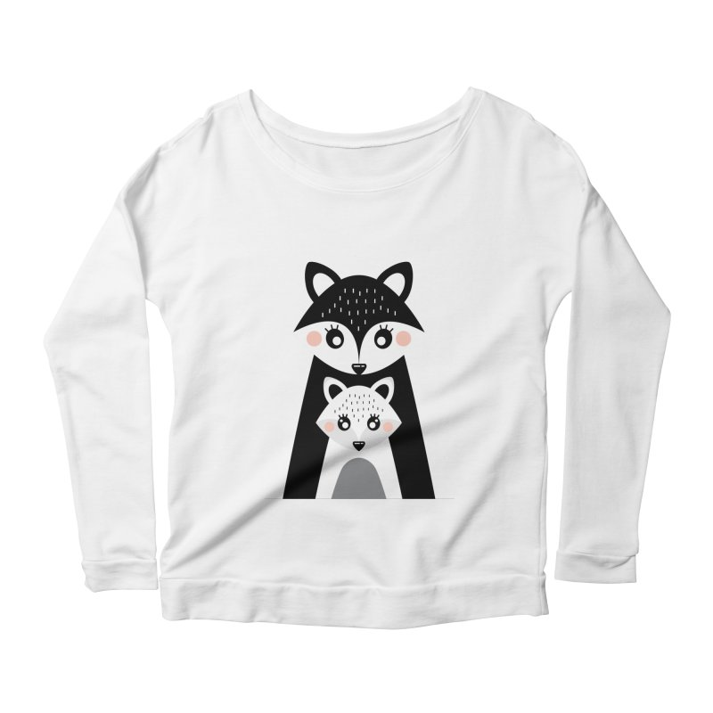 MAMA FOX & BABY FOX Women's Longsleeve Scoopneck  by IF Creation's Artist Shop