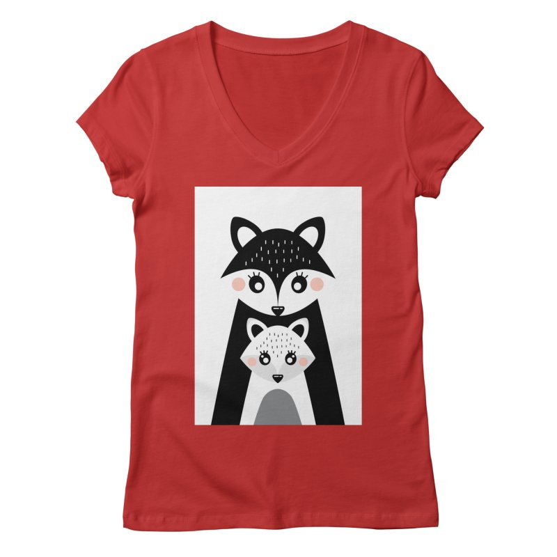 MAMA FOX & BABY FOX Women's V-Neck by IF Creation's Artist Shop