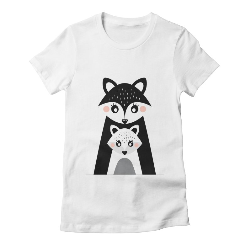 MAMA FOX & BABY FOX Women's Fitted T-Shirt by IF Creation's Artist Shop
