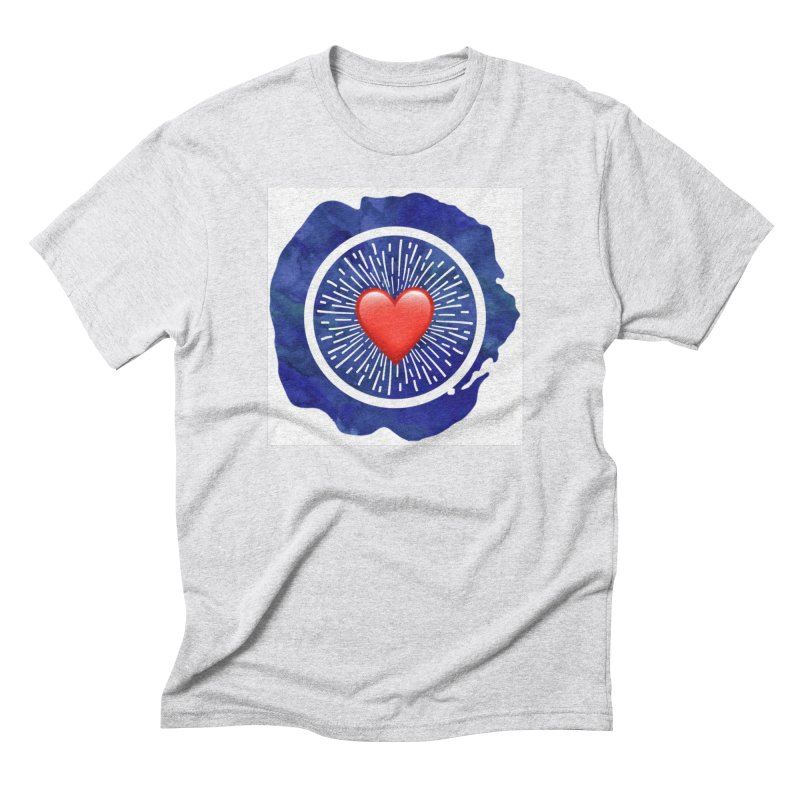 Red Heart Blue Stamp Men's T-Shirt by IF Creation's Artist Shop