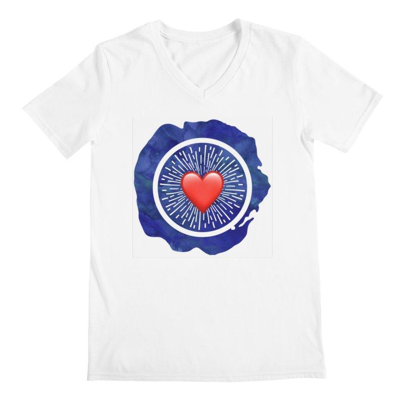 Red Heart Blue Stamp Men's V-Neck by IF Creation's Artist Shop
