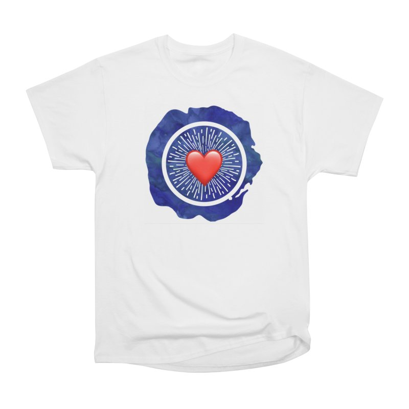 Red Heart Blue Stamp Men's Heavyweight T-Shirt by IF Creation's Artist Shop