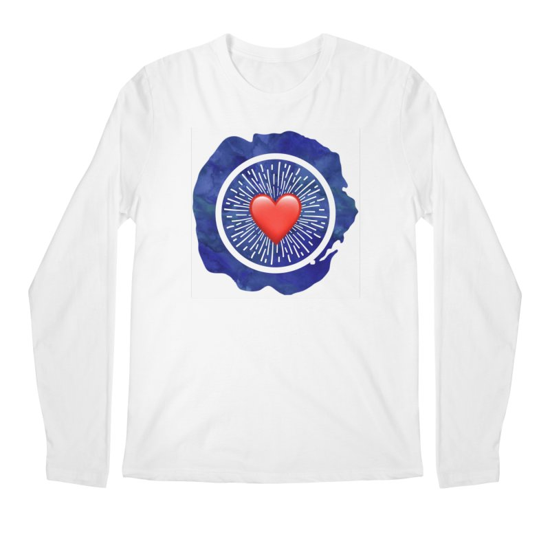 Red Heart Blue Stamp Men's Longsleeve T-Shirt by IF Creation's Artist Shop