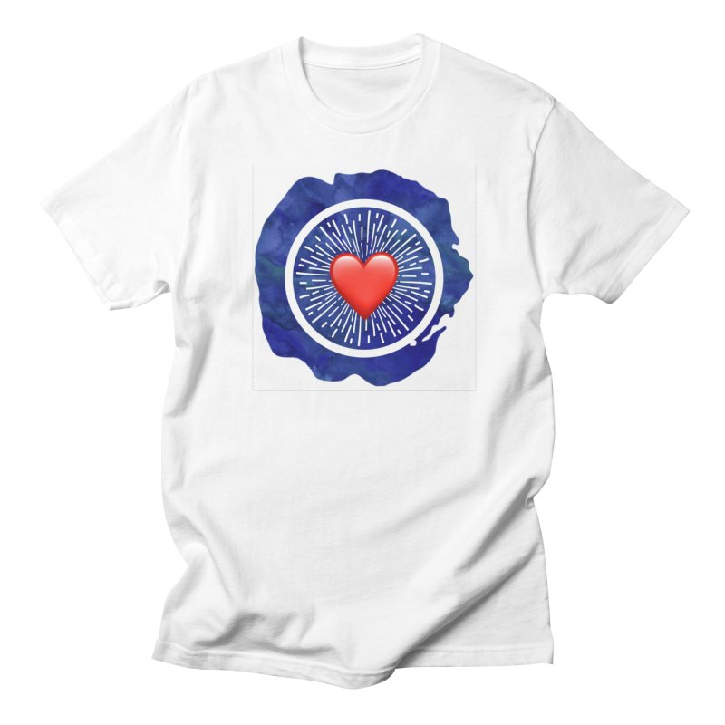 Red Heart Blue Stamp Women's Unisex T-Shirt by IF Creation's Artist Shop