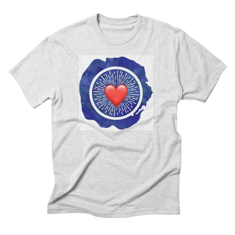 Red Heart Blue Stamp Men's Triblend T-Shirt by IF Creation's Artist Shop