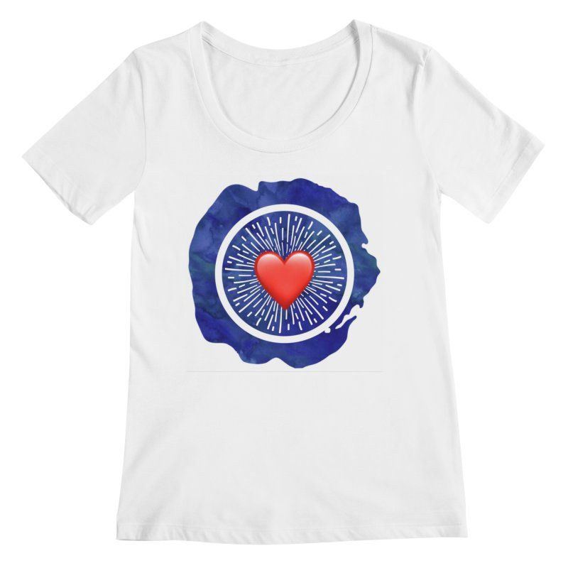 Red Heart Blue Stamp Women's Scoopneck by IF Creation's Artist Shop