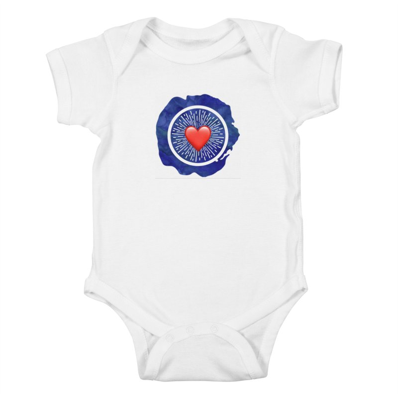 Red Heart Blue Stamp Kids Baby Bodysuit by IF Creation's Artist Shop