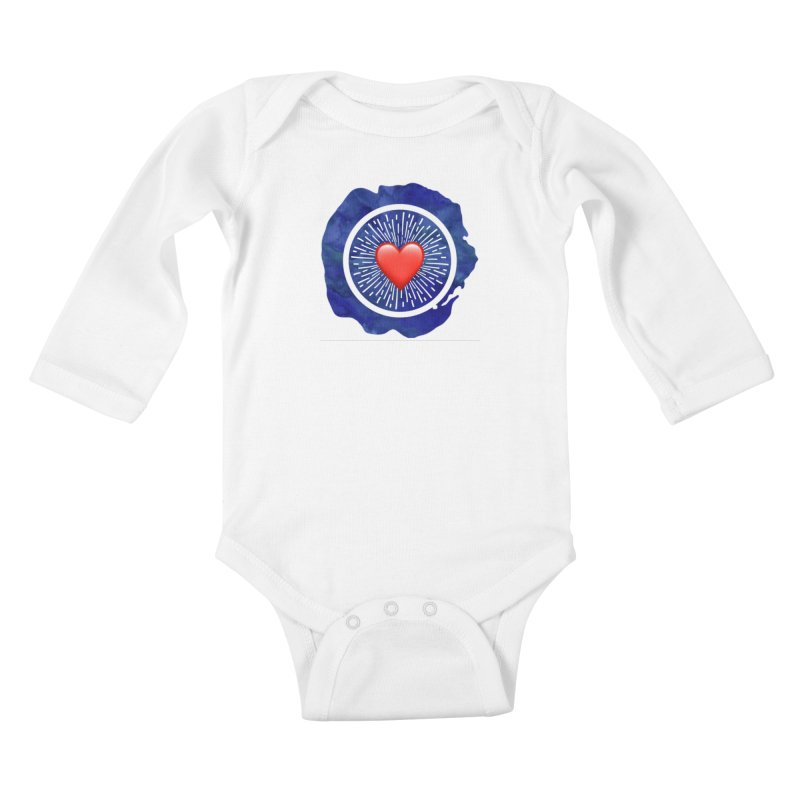 Red Heart Blue Stamp Kids Baby Longsleeve Bodysuit by IF Creation's Artist Shop