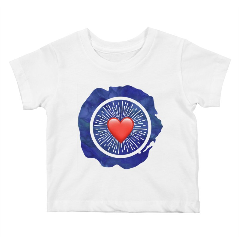 Red Heart Blue Stamp Kids Baby T-Shirt by IF Creation's Artist Shop