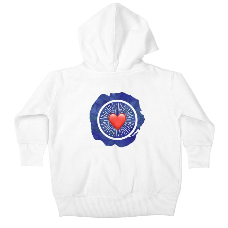 Red Heart Blue Stamp Kids Baby Zip-Up Hoody by IF Creation's Artist Shop