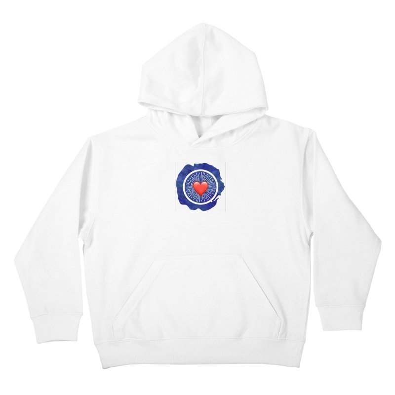 Red Heart Blue Stamp Kids Pullover Hoody by IF Creation's Artist Shop