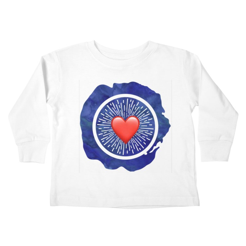 Red Heart Blue Stamp Kids Toddler Longsleeve T-Shirt by IF Creation's Artist Shop