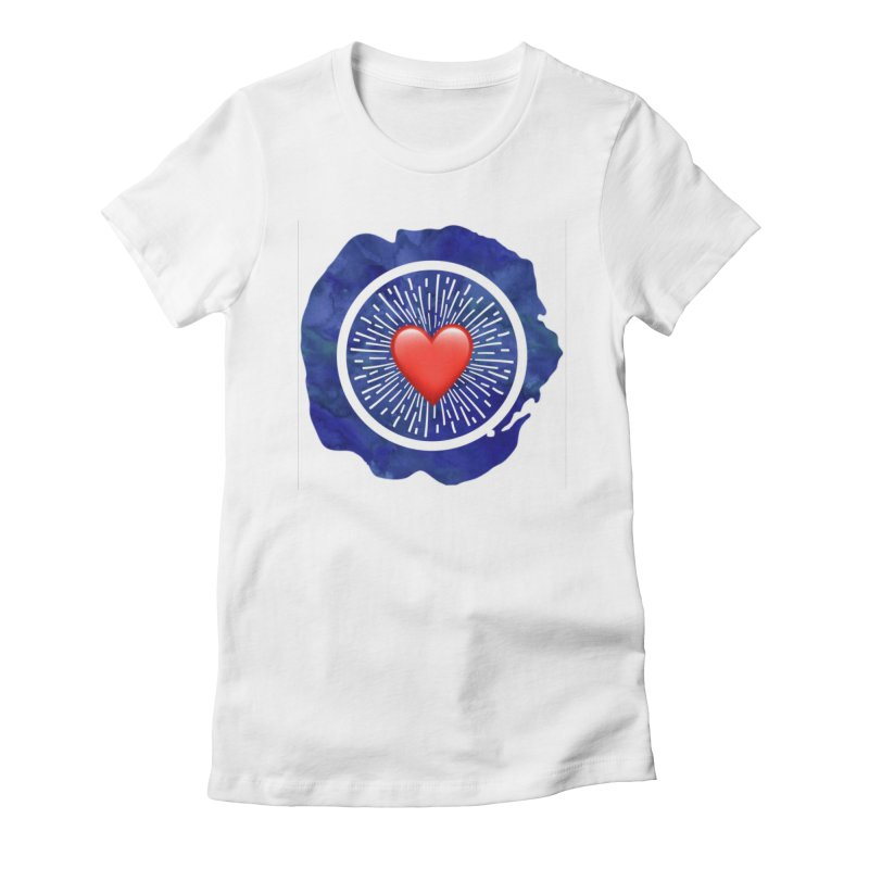 Red Heart Blue Stamp Women's French Terry Zip-Up Hoody by IF Creation's Artist Shop