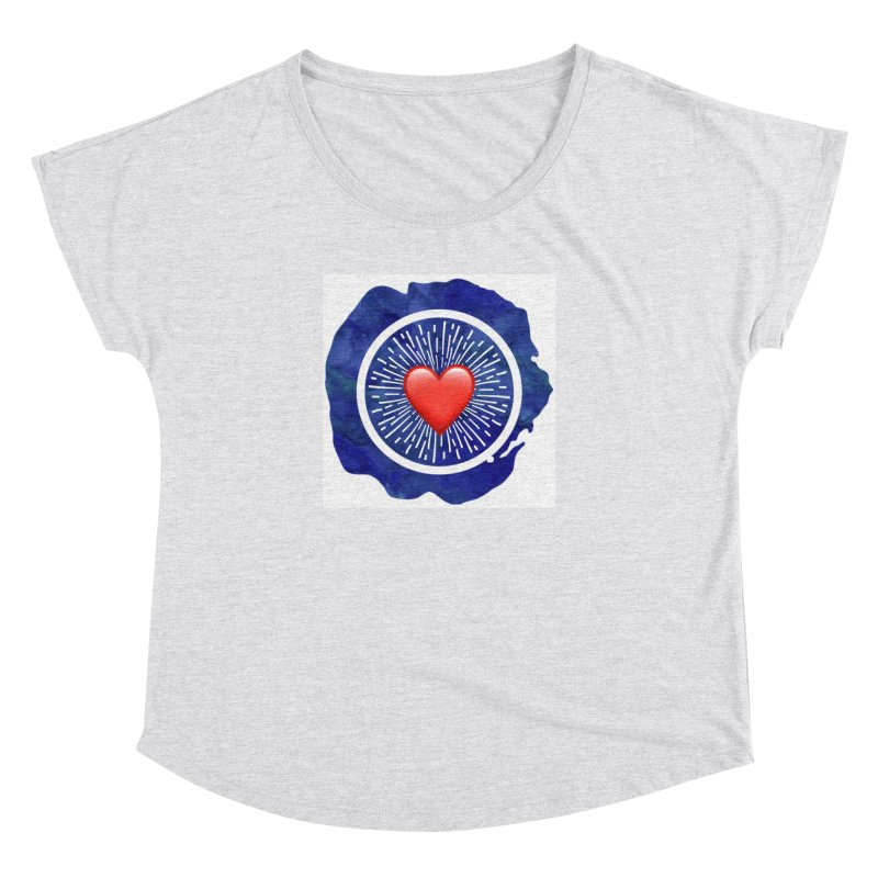Red Heart Blue Stamp Women's Dolman by IF Creation's Artist Shop