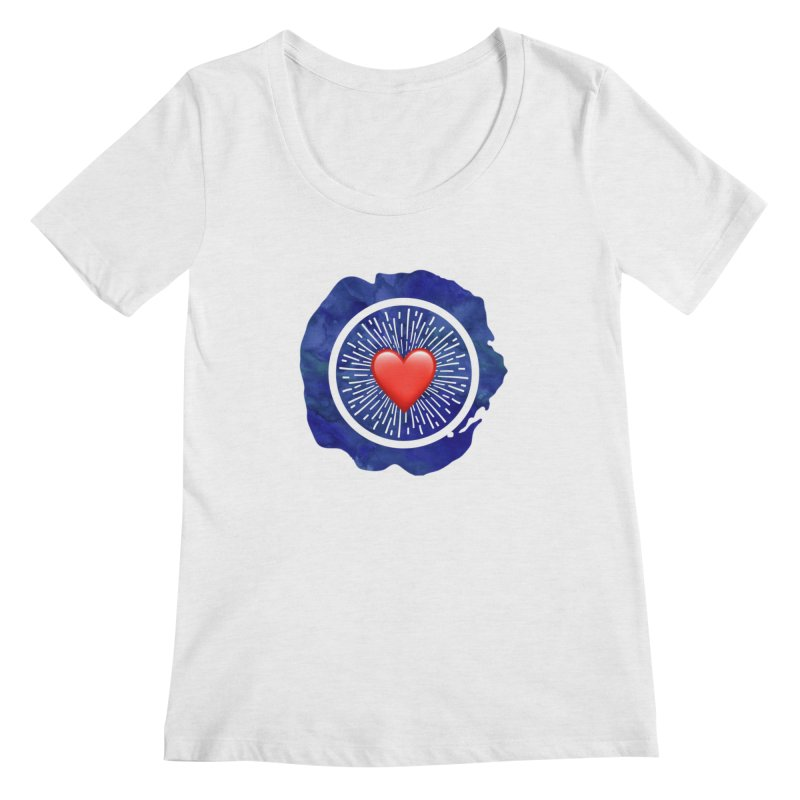 Red Heart Blue Stamp Women's Regular Scoop Neck by IF Creation's Artist Shop