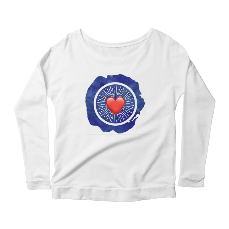 Red Heart Blue Stamp Women's Longsleeve Scoopneck  by IF Creation's Artist Shop