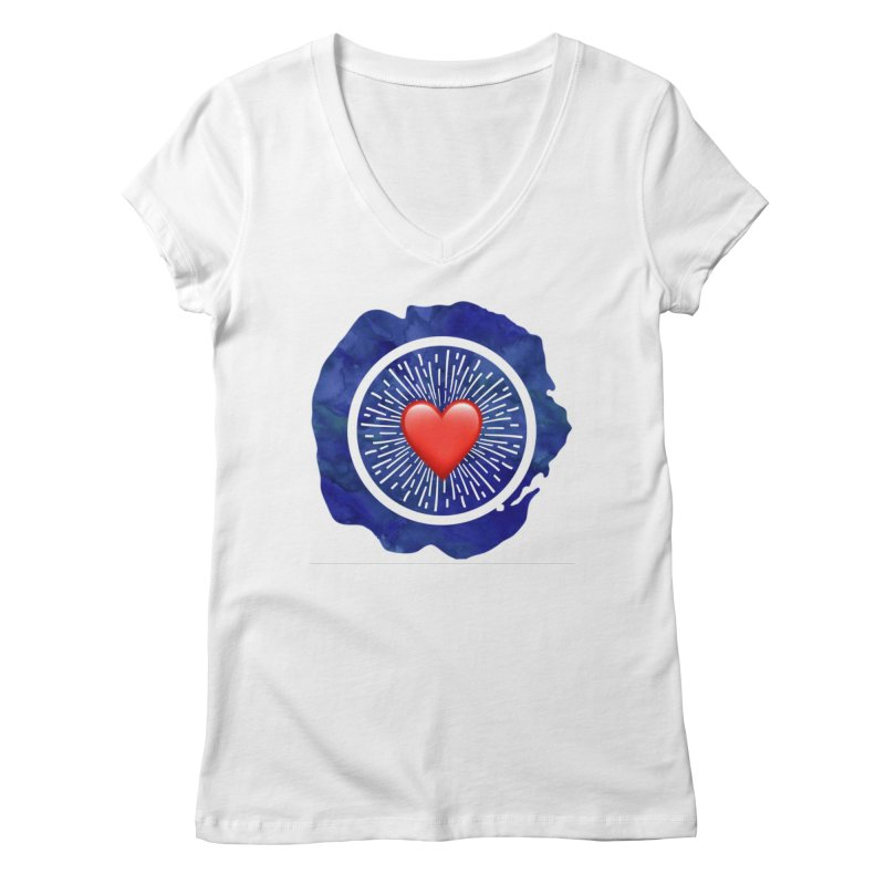 Red Heart Blue Stamp Women's V-Neck by IF Creation's Artist Shop