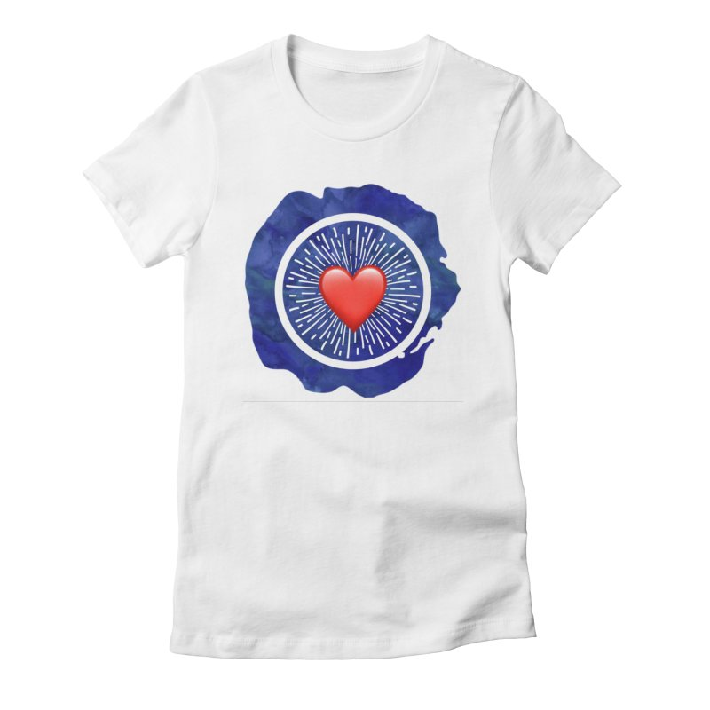Red Heart Blue Stamp Women's Fitted T-Shirt by IF Creation's Artist Shop