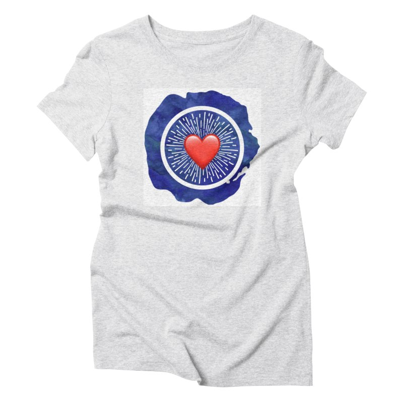 Red Heart Blue Stamp Women's Triblend T-Shirt by IF Creation's Artist Shop