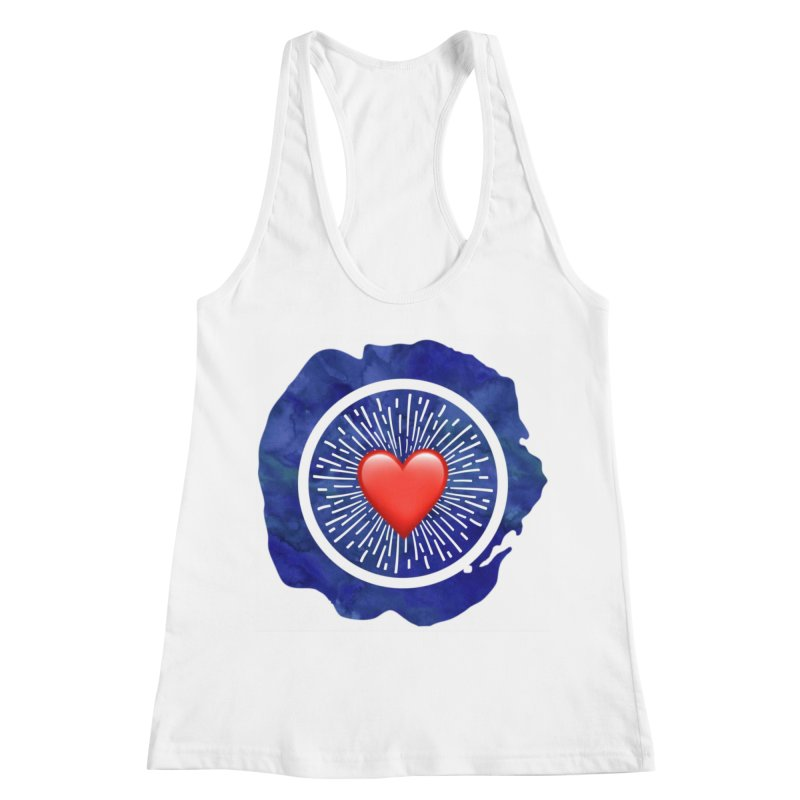 Red Heart Blue Stamp Women's Racerback Tank by IF Creation's Artist Shop