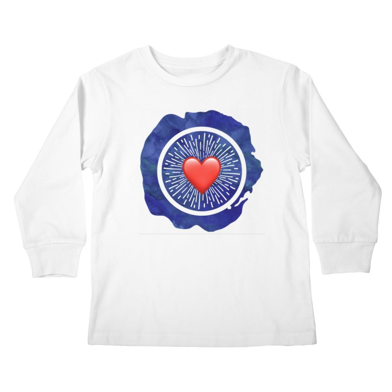 Red Heart Blue Stamp Kids Longsleeve T-Shirt by IF Creation's Artist Shop