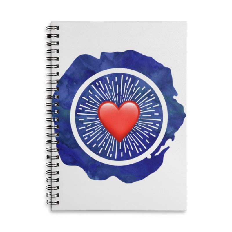 Red Heart Blue Stamp Accessories Notebook by IF Creation's Artist Shop