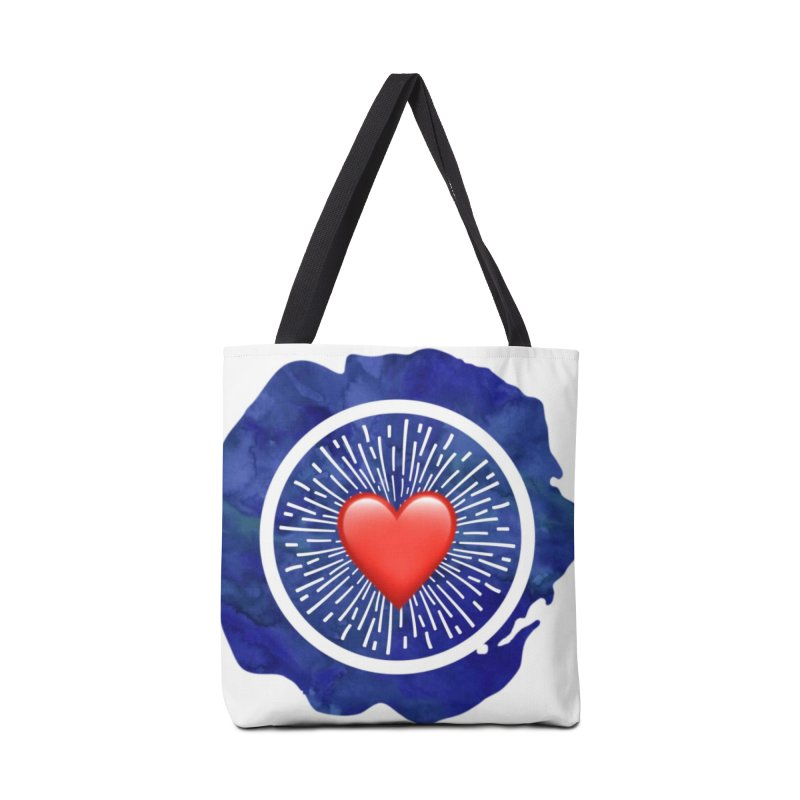 Red Heart Blue Stamp Accessories Tote Bag Bag by IF Creation's Artist Shop